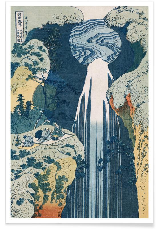 Japansk vintage, Katsushika Hokusai, Bjerge, Hokusai - Amida Waterfall on the Kiso Highway Plakat