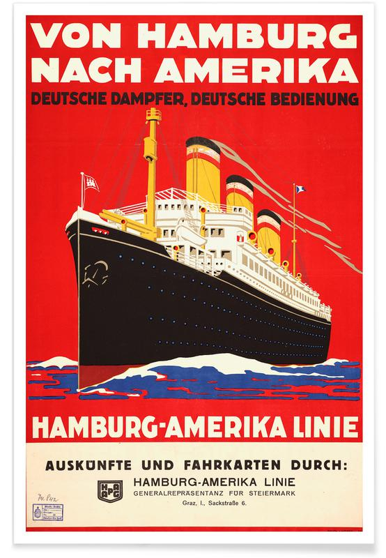 Vintage Reise, From Hamburg to America -Poster