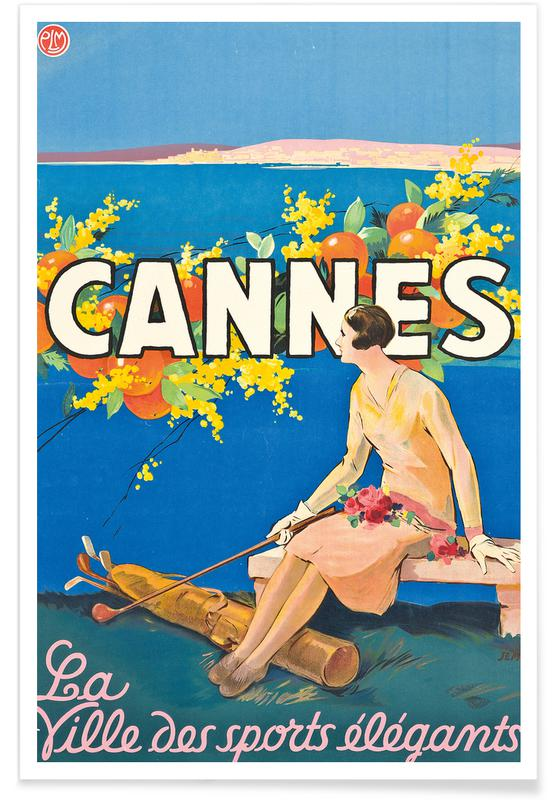 Vintage voyage, Goursat - Poster Advertising Cannes affiche
