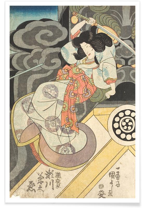 Japanese Inspired, Kuniyoshi - Segawa Kikunojo Acting as Princess Takiyasha Poster