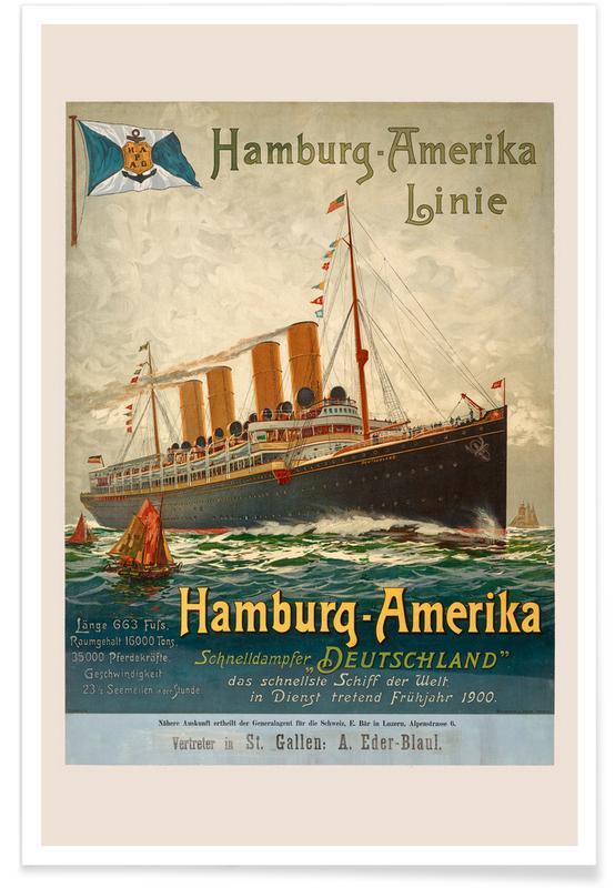 Vintage Travel, Hamburg-America Line Poster