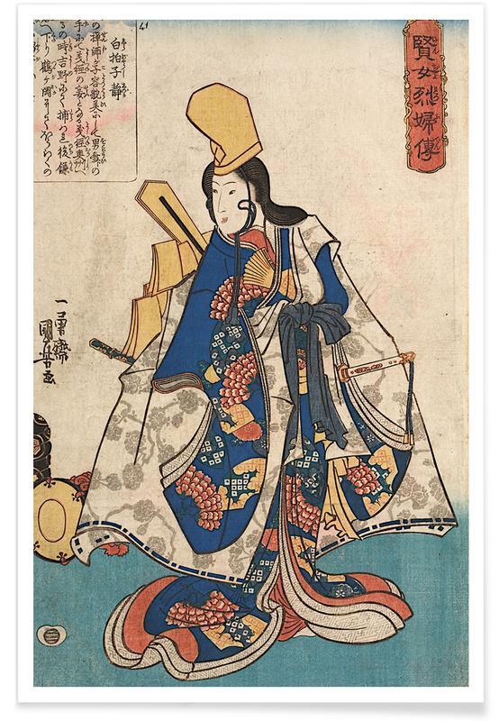 Japanisch inspiriert, Kuniyoshi - Shirabyoshi Dancer Shizuka -Poster