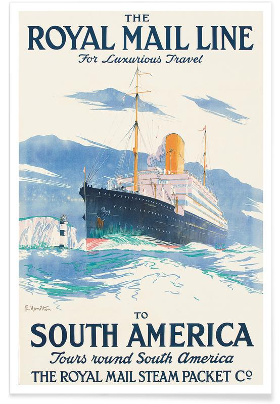 Vintage voyage, Hamilton - The Royal Mail Line to South America. affiche