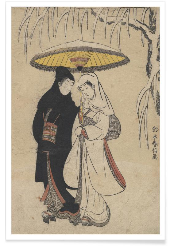 Japanese Inspired, Harunobu - Lovers Under an Umbrella in the Snow Poster