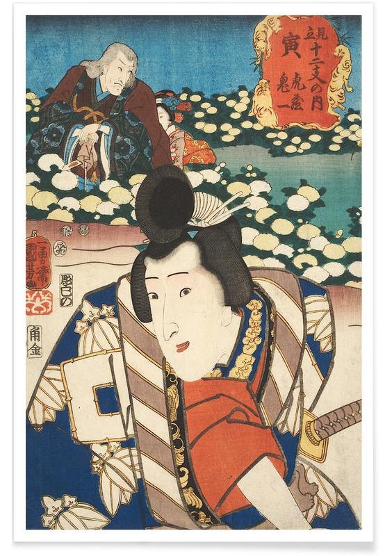 Japanese Inspired, Kuniyoshi - The Sign of the Tiger: Torazo and Kiichi Poster