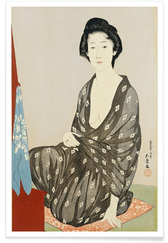 Japanisch inspiriert, Hashiguchi - A Beauty in a Black Kimono -Poster
