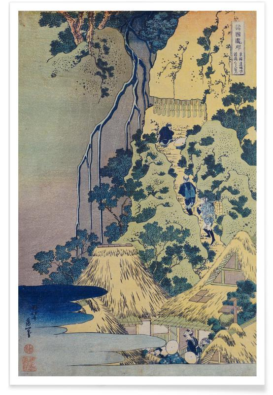 Katsushika Hokusai, Montagnes, Océans, mers & lacs, Hokusai - Travellers Climbing up a Steep Hill affiche
