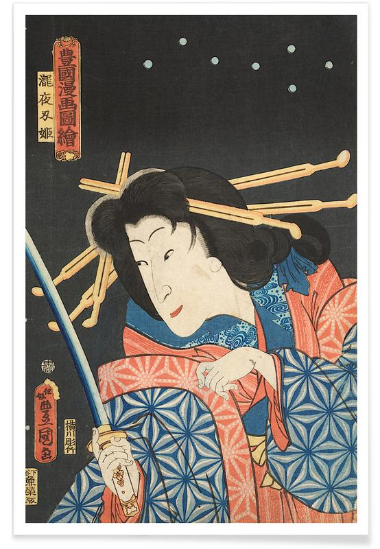 Japanese Inspired, Kunisada - Sawamura Tanosuke III as Princess Takiyasha Poster