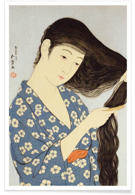 Japanisch inspiriert, Hashiguchi - A Young Woman Combing Her Hair -Poster