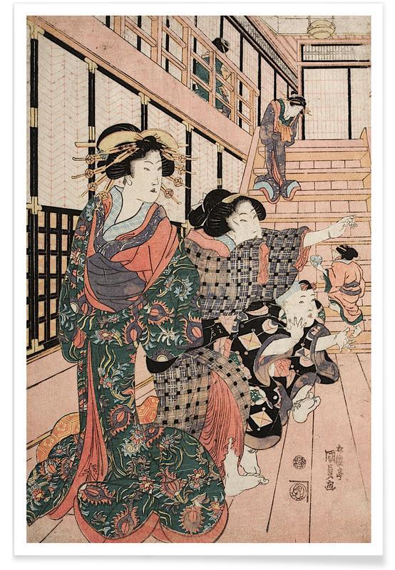 Japans geïnspireerd, Kunisada - Courtesans, Their Servants and Students Playing Blind Man's Buff poster