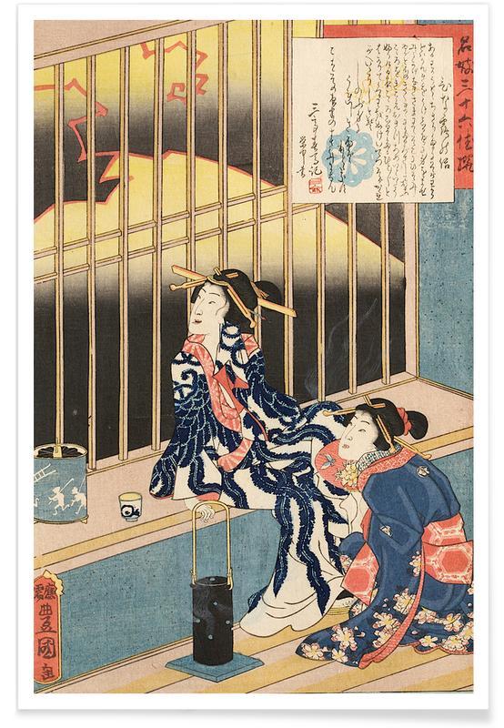 Japanese Inspired, Kunisada - The Courtesan Hinazuru Poster