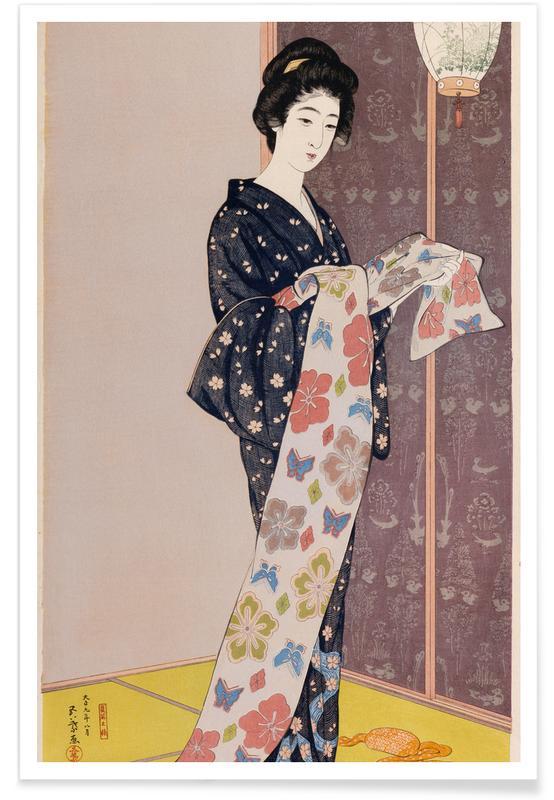 Japanese Inspired, Hashiguchi - Young Woman in a Summer Kimono (Dai-oban tate-e) Poster