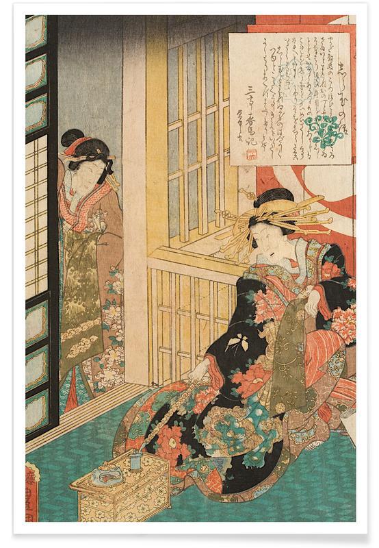 Japanisch inspiriert, Kunisada - The Courtesan Shiratama -Poster