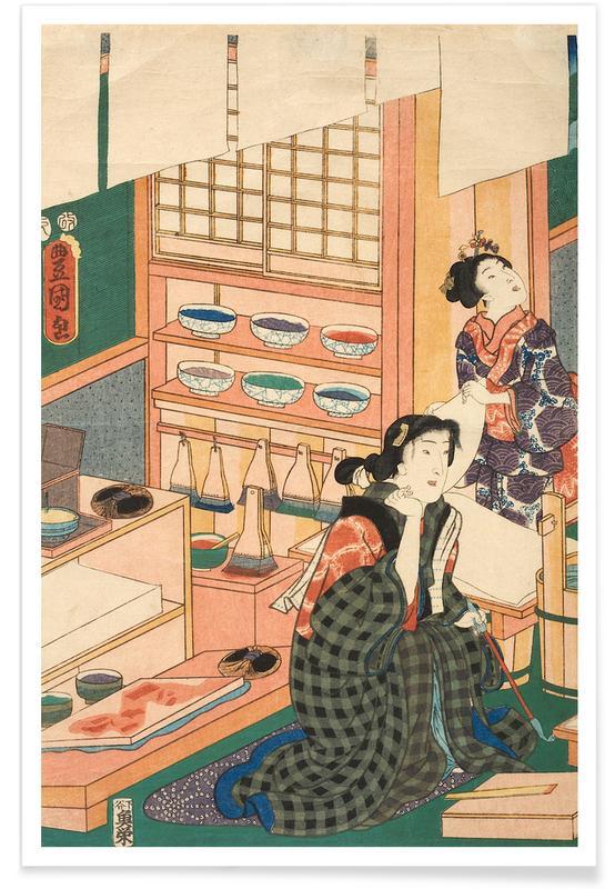 Japanisch inspiriert, Kunisada - The Class of the Craftsmen -Poster