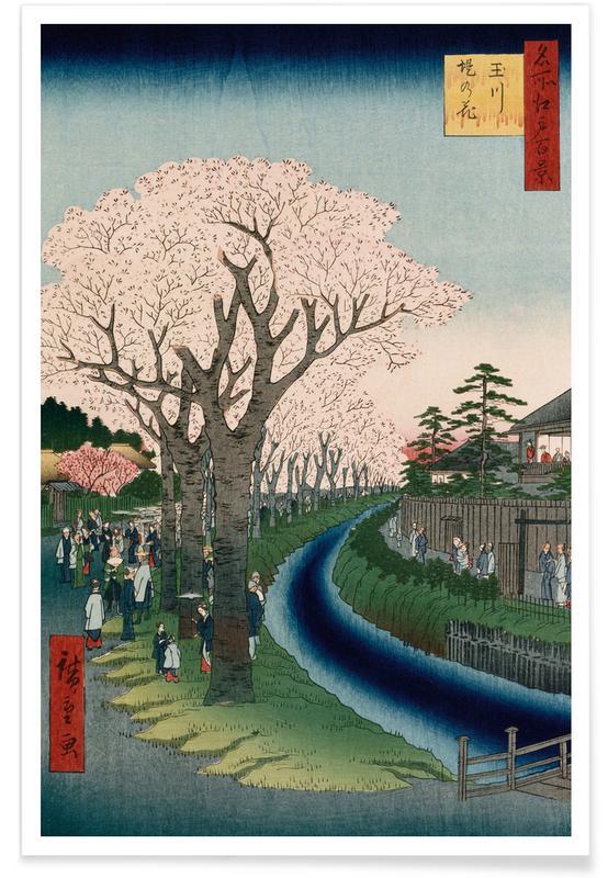 D'inspiration japonaise, Hiroshige - Cherry Blossoms, Tama River Embankment affiche