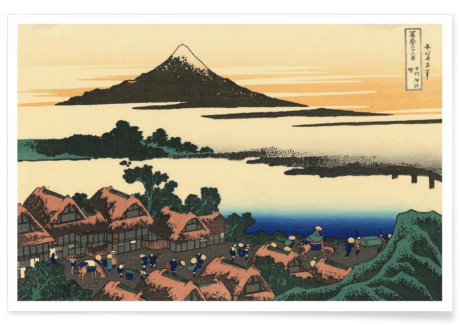 Japans geïnspireerd, Katsushika Hokusai, Bergen, Hokusai - Dawn Near Isawa in Kai Province poster