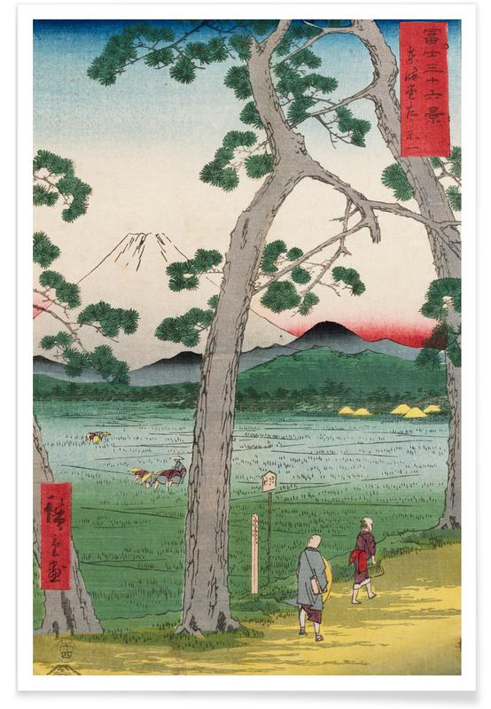 Japanese Inspired, Hiroshige - Fuji on the Left Seen from the Tokaido Road Poster