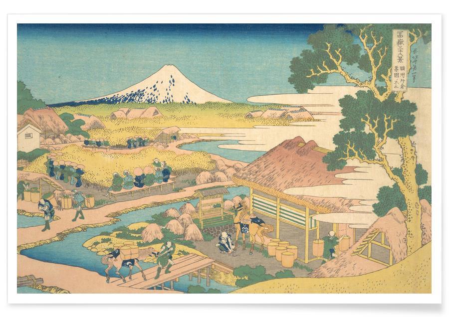 Japanese Inspired, Hokusai - Fuji from the Katakura Tea Fields in Suruga Poster