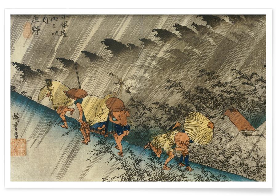 D'inspiration japonaise, Hiroshige - Driving Rain, Shono affiche