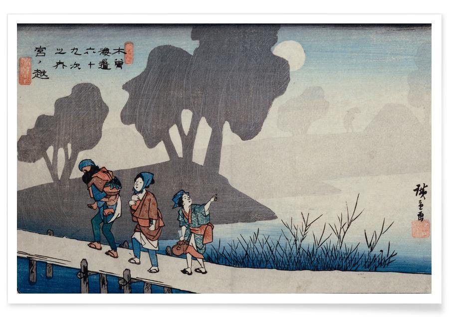 Japans geïnspireerd, Hiroshige - Miyanokoshi, Station 27 poster