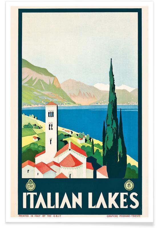 Vintage Travel, Italian Lakes Poster