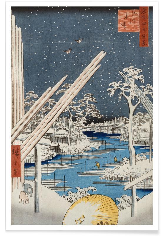 D'inspiration japonaise, Hiroshige - Lumberyards at Fukagawa affiche