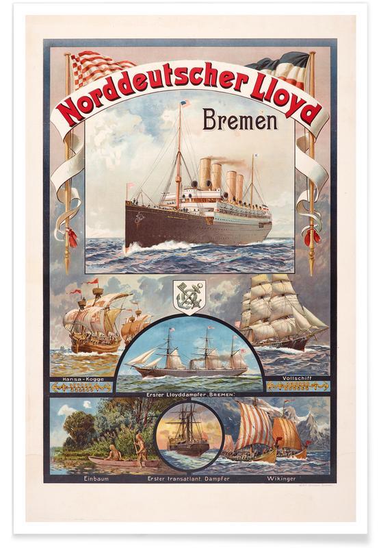 Vintage Reise, Jentzen - Norddeutscher Lloyd Bremen -Poster
