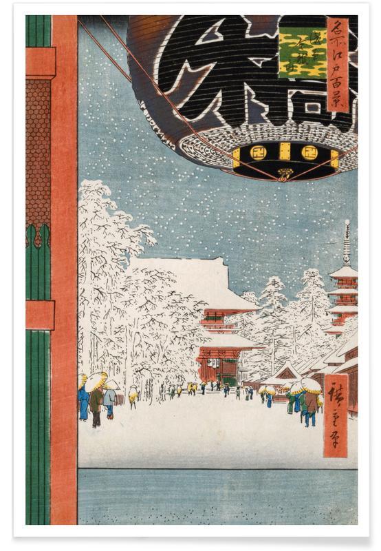 Japanisch inspiriert, Hiroshige - Kinryuzan Temple at Asakusa -Poster