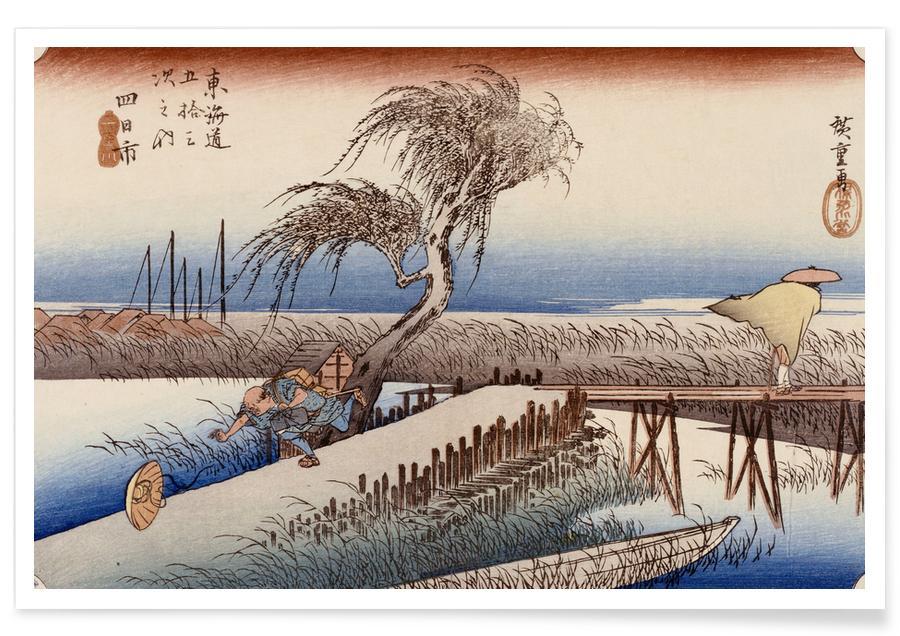 D'inspiration japonaise, Hiroshige - Mie River Near Yokkaichi affiche