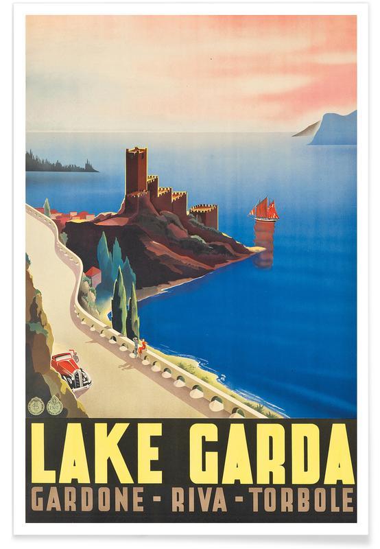 Vintage Travel, Lake Garda Poster