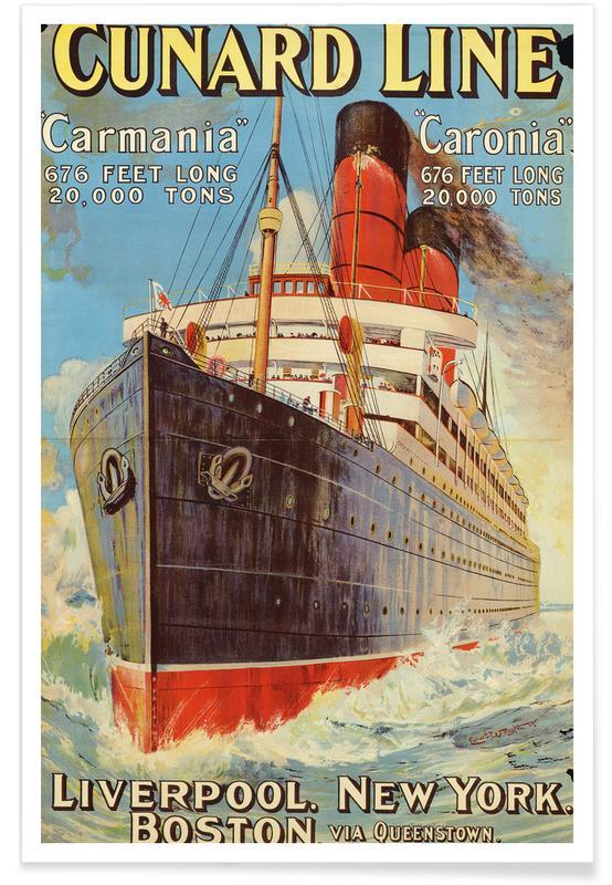Vintage voyage, Mills - Cunard Line - Liverpool, New York, Boston affiche