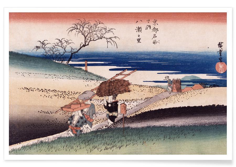 D'inspiration japonaise, Hiroshige - At Yase Village affiche