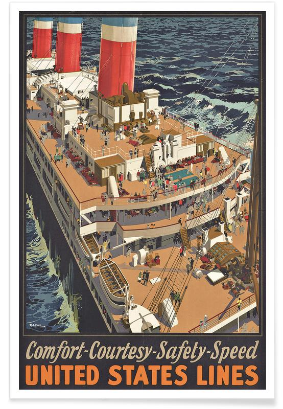 Vintage voyage, Pike - Poster Advertising United States Lines affiche