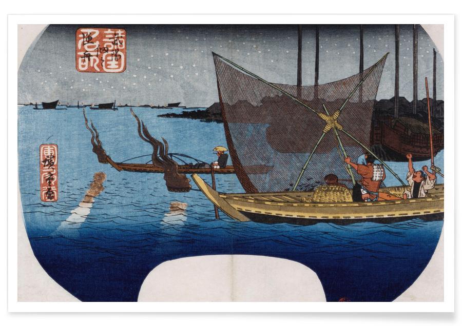 Japanese Inspired, Hiroshige - Fishing Boats at Tsukudajima in Musashi Province Poster