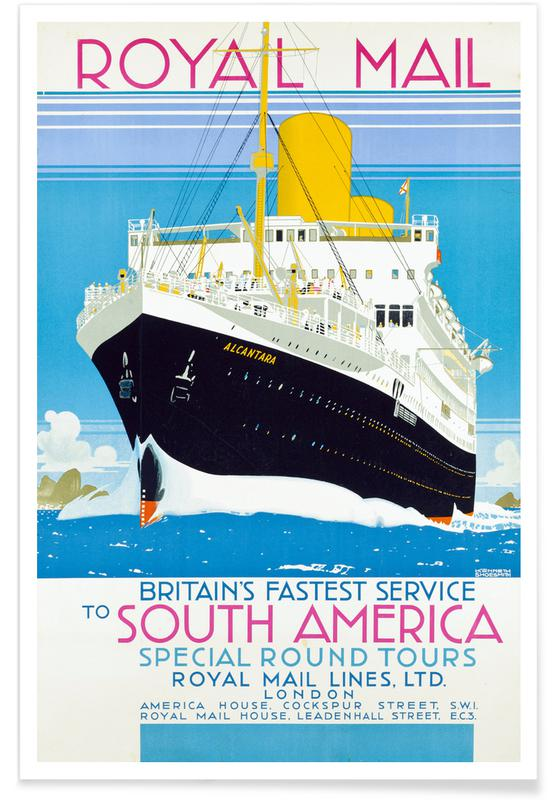 Vintage Travel, Shoesmith - Poster Advertising The Royal Mail Service to South America. Poster