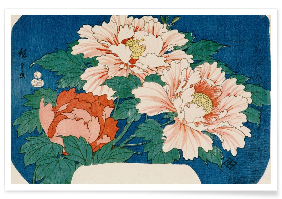 D'inspiration japonaise, Hiroshige - Three Stems of Peonies on a Blue Background affiche