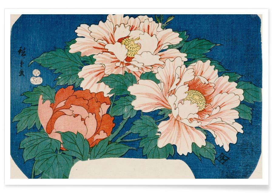 Japanisch inspiriert, Hiroshige - Three Stems of Peonies on a Blue Background -Poster