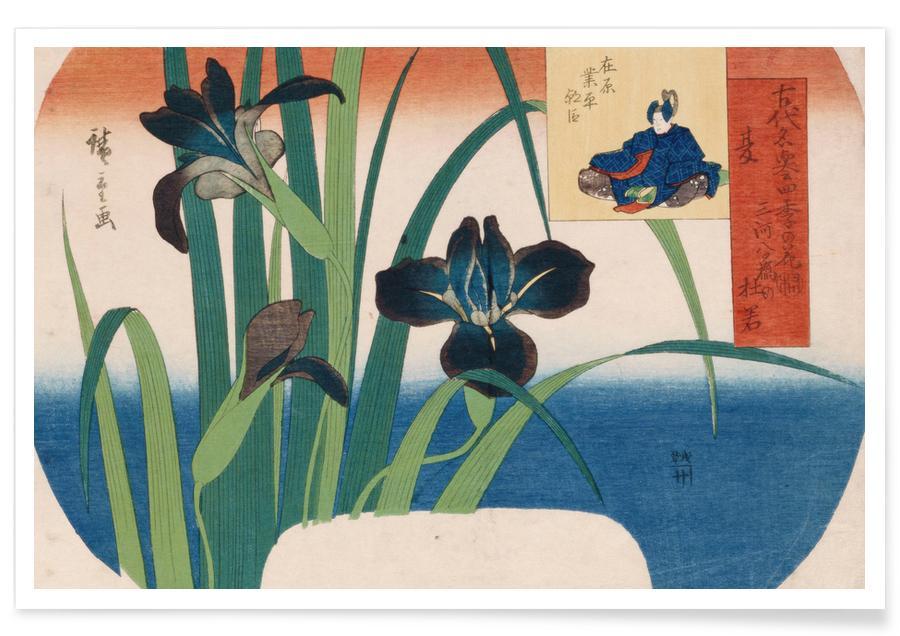 D'inspiration japonaise, Hiroshige - Summer, Iris at Yatsuhashi in Mikawa Province affiche
