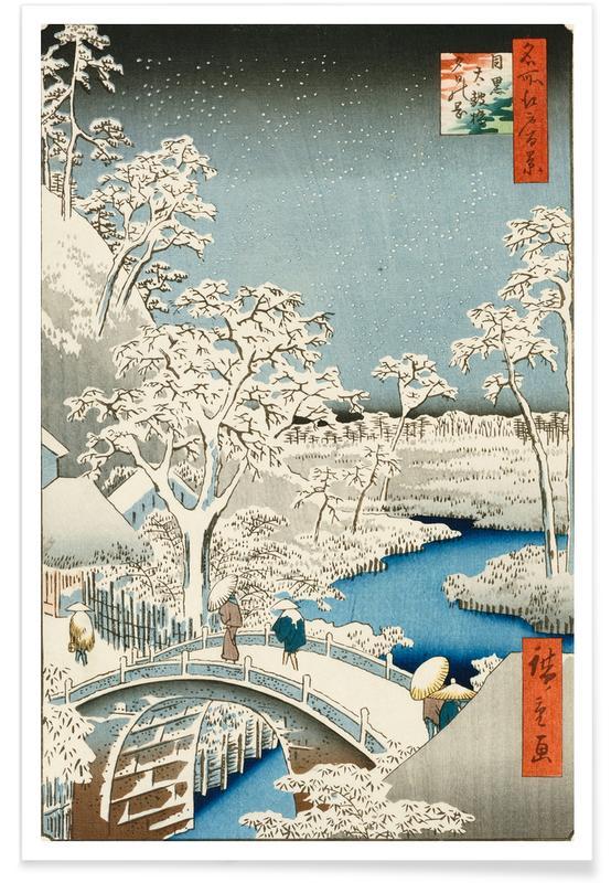 D'inspiration japonaise, Hiroshige - Drum Bridge and 'Setting Sun' Hill, Meguro affiche