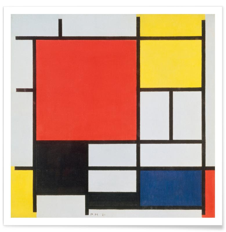 Piet Mondrian, Mondrian - Composition with Red, Yellow, Blue and Black Poster