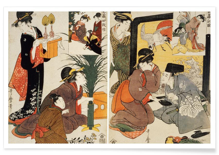 Japanisch inspiriert, Utamaro - Two Scenes from the Series 'Loyal League' -Poster