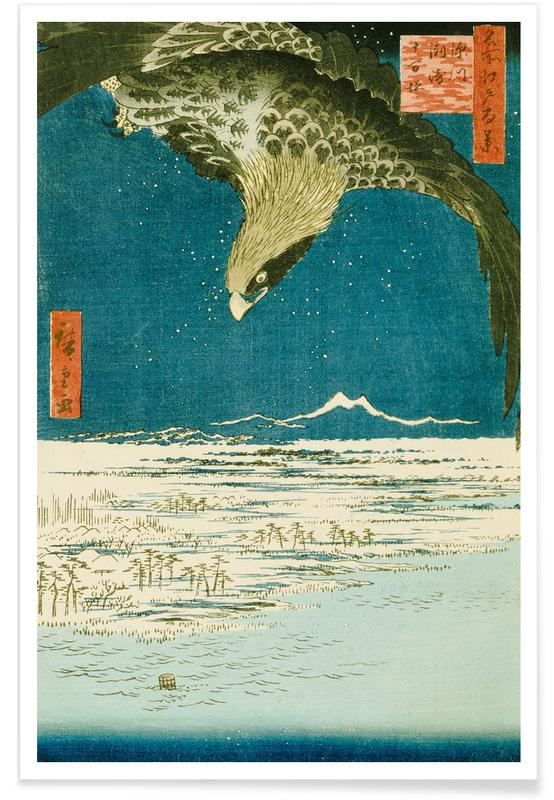D'inspiration japonaise, Hiroshige - One Hundred Thousand- Tsubo Plain at Susaki, Fukagawa affiche