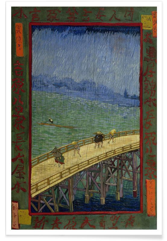 Japanese Inspired, van Gogh - Bridge in the Rain (after Hiroshige) Poster
