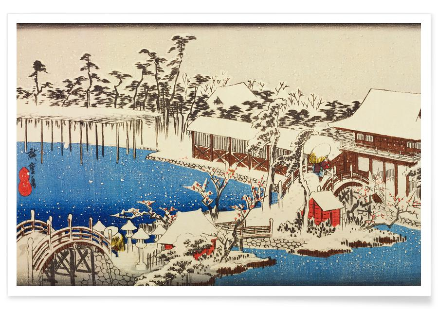 Japanese Inspired, Hiroshige - Snow at the Field of the Kameido Tenman Shrine Poster