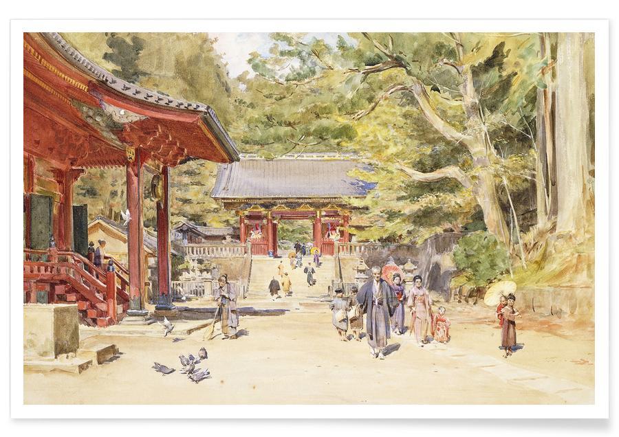 Vintage reis, Tyndale - A Street Scene, Japan poster