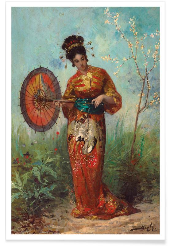 Japanese Inspired, Beyle - A Japanese Woman with a Parasol Poster