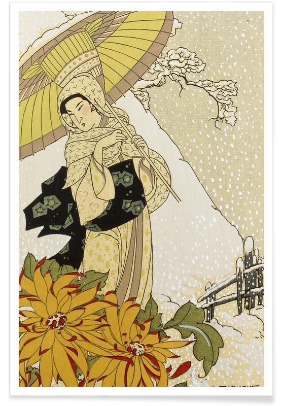 Japanisch inspiriert, Blanche - Snow in Japan -Poster