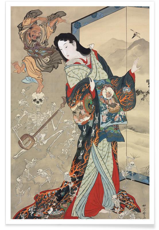 Japanese Inspired, Kyosai - Jigoku Dayu (Hell Courtesan) Poster