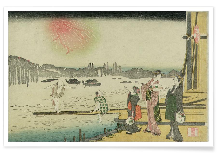Japanese Inspired, Hokusai - Ryogoku Yusuzumi (Evening Cool at Ryogoku) Poster
