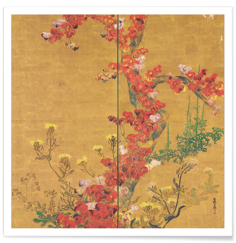 Vintage Travel, Autumn Flowers and Tree Trunk Poster